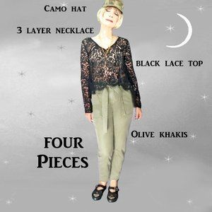 TopShop Pants, Black Lace Top, Necklace, Camo Hat, Small Size Casual Outfit